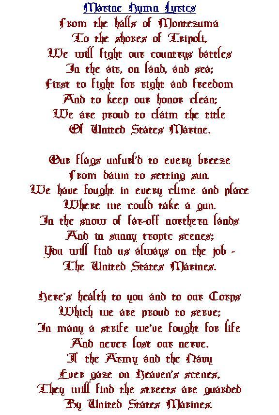 Lyric marine corps hymn lyrics : SYNOPSIS & SHRINE